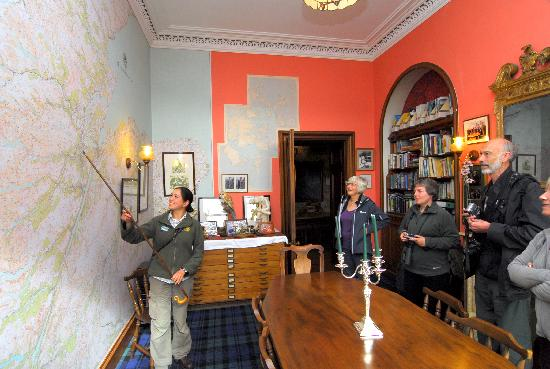 Beauly, UK : Wall map briefing in the library.