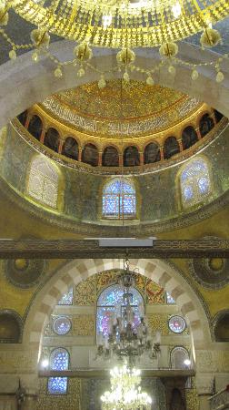 Mosquée Al-Aqsa : Inside looking up towards the Dome