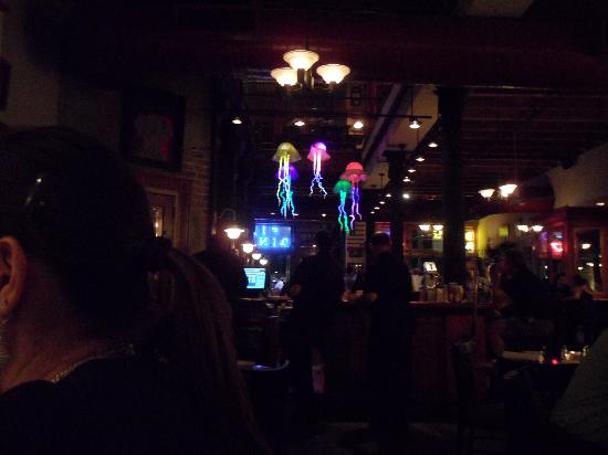 Crescent City Brewhouse: Jellyfish lights over the bar.