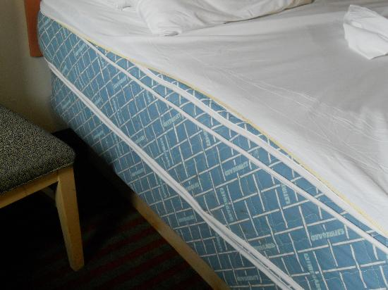 All Seasons Inn & Suites: Bottom sheet on mattress