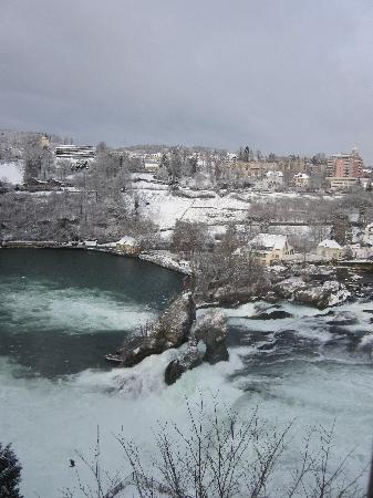 Rhine Falls : a view from Schloss Laufen looking across to Schaffhausen