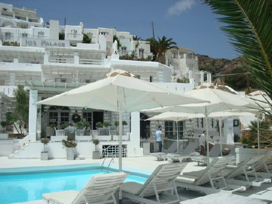Ios Palace Hotel: VIEW OF LOWER POOL/BAR/BREAKFAST AREA