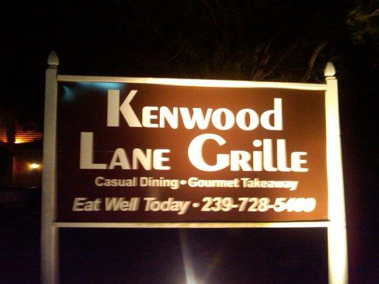 Kenwood Lane Grille: sign