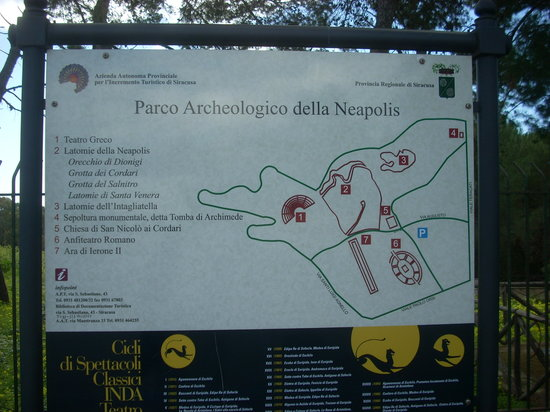 Syracuse, Italy: A large sign details the sites and their locations.