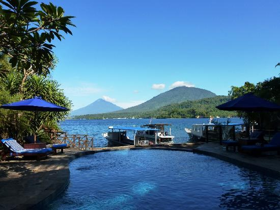 Lembeh Resort - Pool Area and Dive Boat