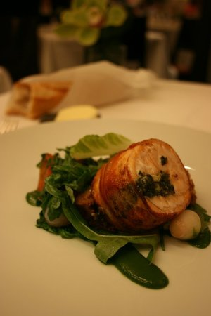 Cafe Boulud: Pan-seared salmon wrapped in bacon with Romaine lettuce puree