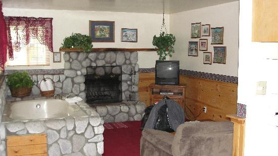 Sleepy Forest Cottages: Living room and Fireplace in 201