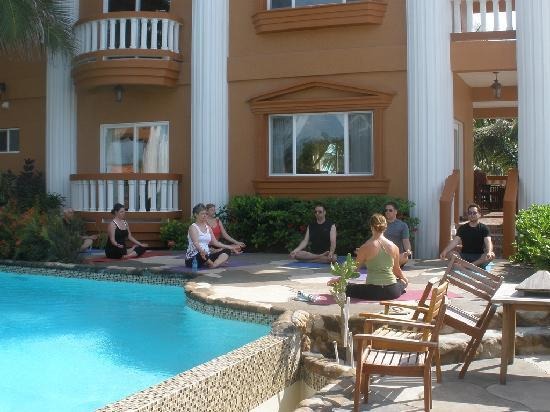 Athens Gate: Yoga by the pool