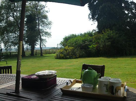 Whitecroft Farm B&B: tea on the lawn