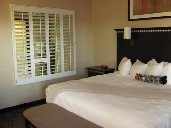 Desert Diamond Casino Hotel : shutters open from the bathroom/tub to the bedroom