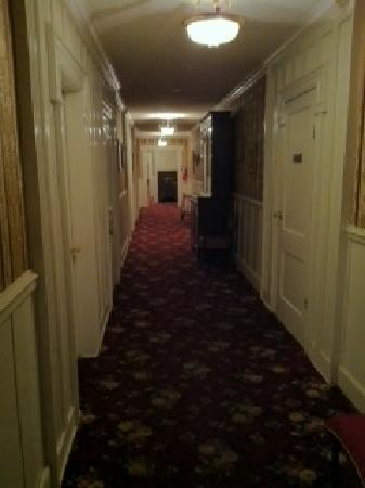 The Historic Jefferson Hotel: To the left is my door, Im looking up the hall.