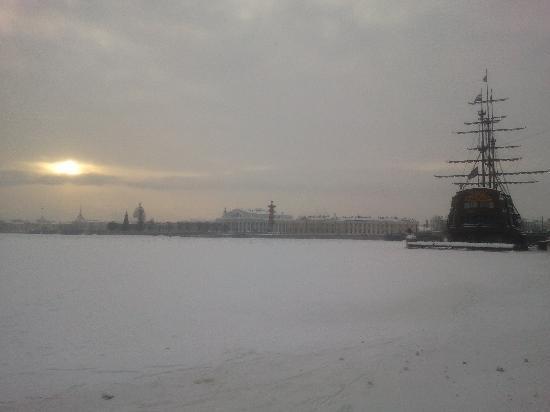 St. Petersburg, Russia: The frozen Neva in the wintertime