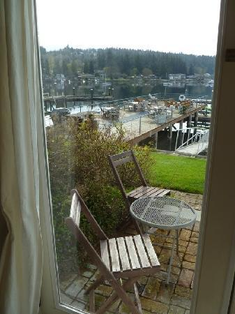 "Waterfront Inn: The door is the only ""window"" that opens.  There's a huge deck on the water for relaxing.."