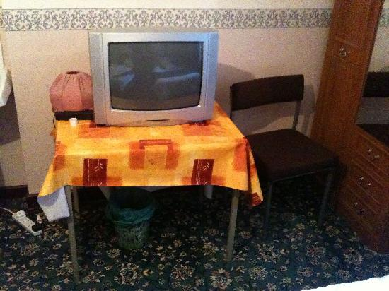 Hill View Private Hotel: Television plonked on an office table