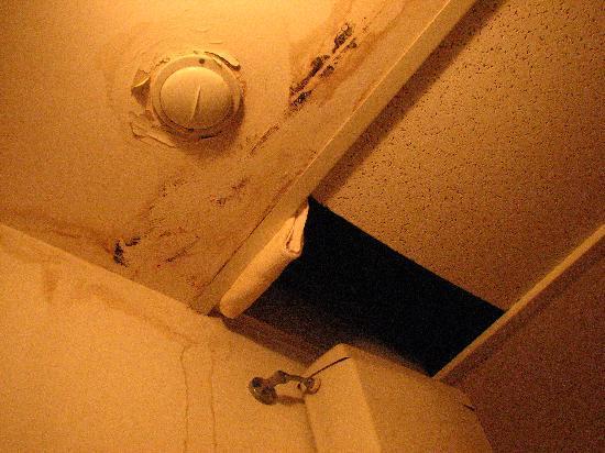 Hotel La Forcola: Agujero en el techo del baño