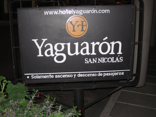 Hotel Yaguaron: sign out front