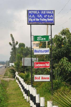 Shashamane, Ethiopia: Look for this sign when searching for the hotel