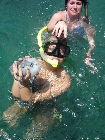 Paski's Adventure Sport Tours: my friends with a sea cucumber and puffer fish that Rafa caught and released afterwards