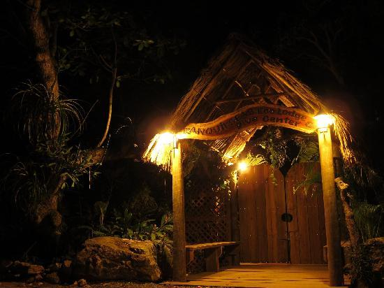 Tranquilseas Eco Lodge and Dive Center: Tranquilseas main entrance at night