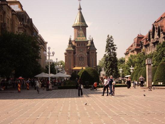 Timisoara, Roemenië: piazza opera, cattedrale ortodossa