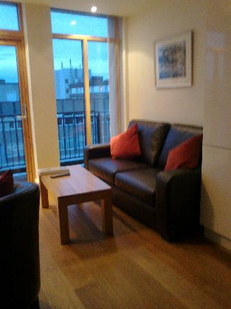 Bridge Street Apartments : Living room with view to the river Ness