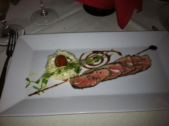 Oliver A Bistro: seared ahi tuna with risotto- 2nd course