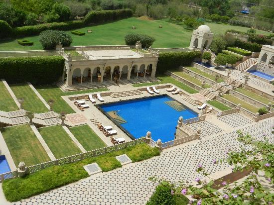 The Oberoi Amarvilas: View of the pool from our balcony