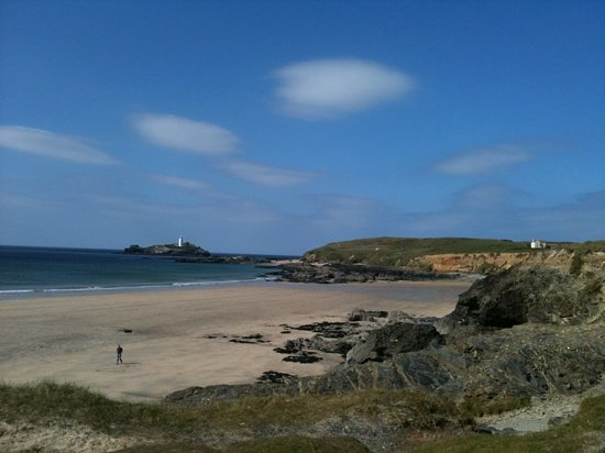 St. Ives, UK: beautiful views across to Godrevy lighthouse
