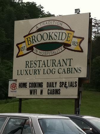 The Cabins at Brookside: Their business sign out front
