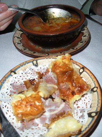 Kocharata : Borscht and phyllo/egg appetizre