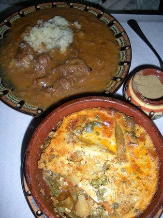 Kocharata : Goulash (back) and lamb/potato/pea casserole (front)