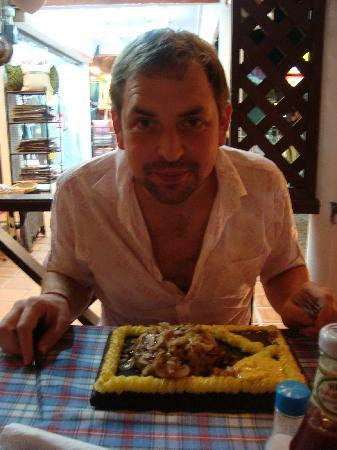 Viking Steak House: A happy man with his plank steak
