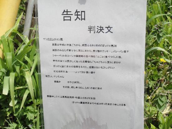 Fukiya Furusato Village: テンちゃん判決文