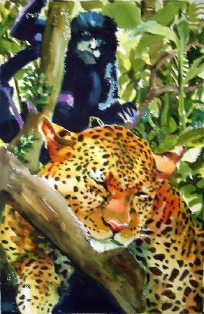 Sarah's Gallery: Jaguar with Howler Monkey