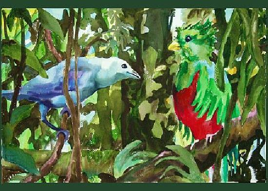 Sarah's Gallery: Quetzal with Blue Tanager