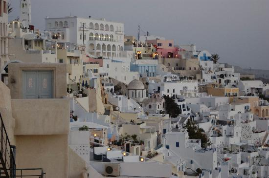 Fira, Greece: Close-up view of Thira