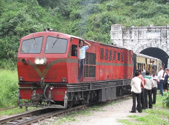 Shimla, Indien: Downhill train clears one of many tunnels