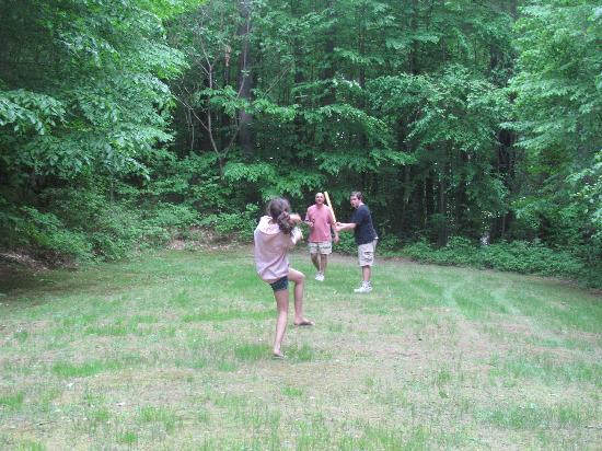 Wilgus State Park : Playing whiffle ball in the open area next to the restroom