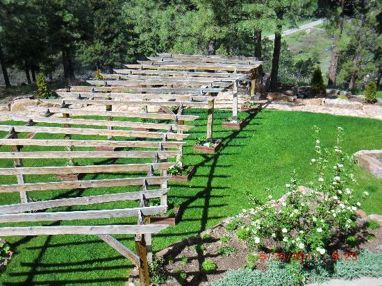 Canyon Crest Lodge: Pergola in back yard for weddings and special ceremonies