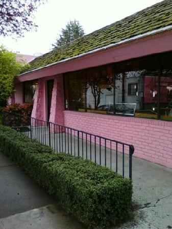 Voodoo Doughnut Too: The Pepto pink building gleams on the gloomiest of days.