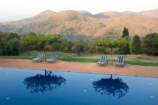 Chiaveretto, Italie : Torre Del Tartufo pool and view.