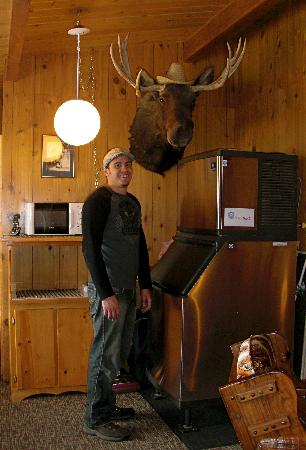 Kudar Motel & Cabins: my boyfriend posing with the poor dead moose. one thing i don't like about the west. :(