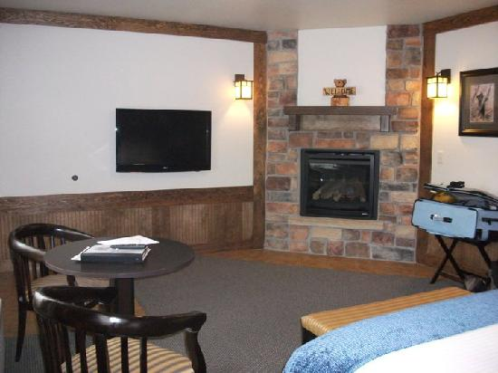 The Haber Motel: Fireplace and flatscreen