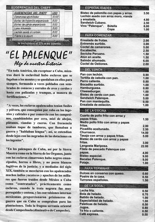 Speisekarte El Palenque (Beispiele)