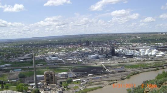 overlooking Billings, the Yellowstone River, a power plant and Conoco oil refinery
