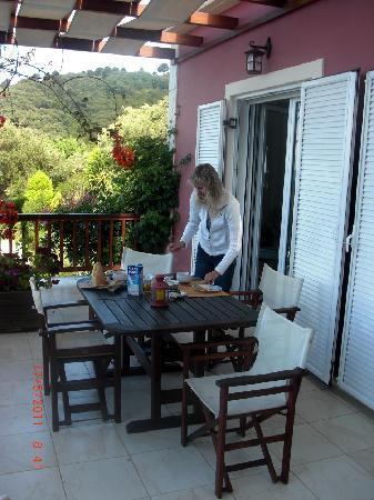 Пелекас, Греция: Balkon-Terrasse Wohnung 6