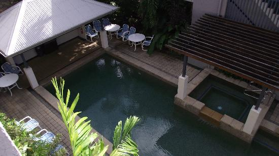 Getaway On Grafton: The view of the pool area from our townhouse balcony