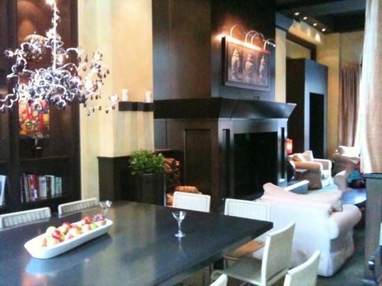 Hotel Le Germain Quebec: the elegant lobby, complete with a well stocked bar just for guests.