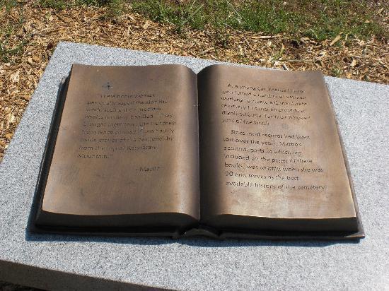 "Marietta Confederate Cemetery: Bronze ""open book"" engraved history (sample)"