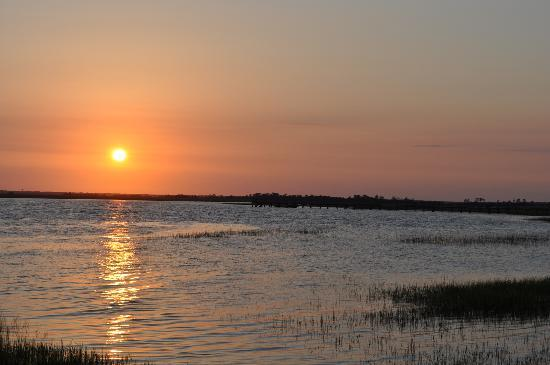 Fripp Island, SC: Sunset on southern tip of Fripp